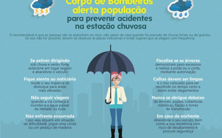 Corpo de Bombeiros alerta população para prevenir acidentes na estação chuvosa