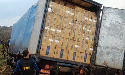 PRF apreende 400 mil maços de cigarros do Paraguai na BR-262