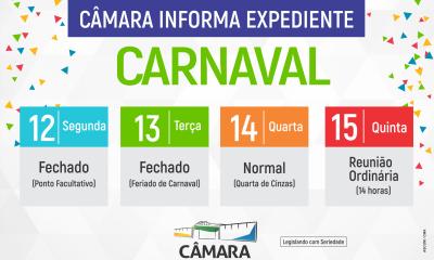 Câmara informa expediente para semana do carnaval.
