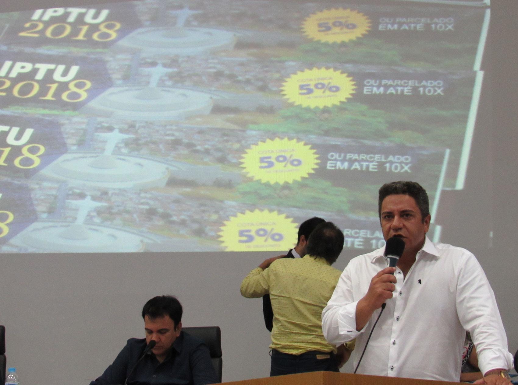 Robson Magela propõe desconto maior para quem paga o IPTU à vista