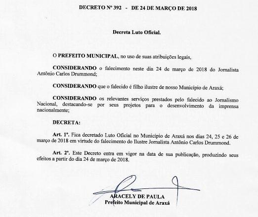 Prefeito decreta luto oficial de três dias por falecimento do jornalista araxaense Antônio Carlos Drummond