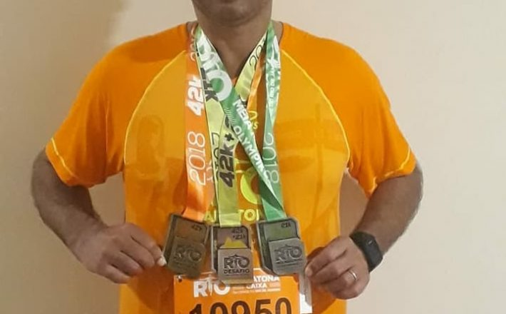 """Ronivaldo representando a cidade de Araxá no """"Desafio da Maratona"""" noRio de Janeiro"""