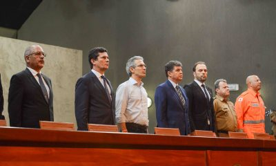 Romeu Zema e Sérgio Moro defendem união de forças na segurança pública durante encontro na Cidade Administrativa