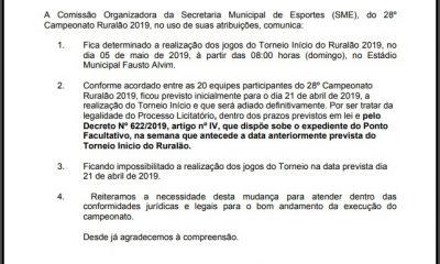 Prefeitura altera data do Torneio Início, abertura oficial do Ruralão 2019