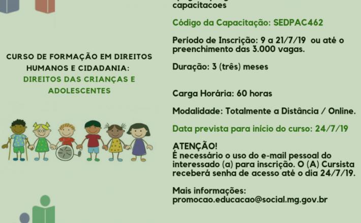 Governo de Minas abre inscrições para curso sobre direitos das crianças e adolescentes