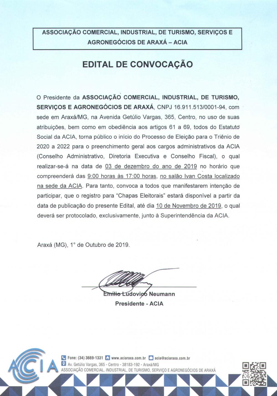 EDITAL DE CONVOCAÇÃO – Processo Eleitoral Acia 2019