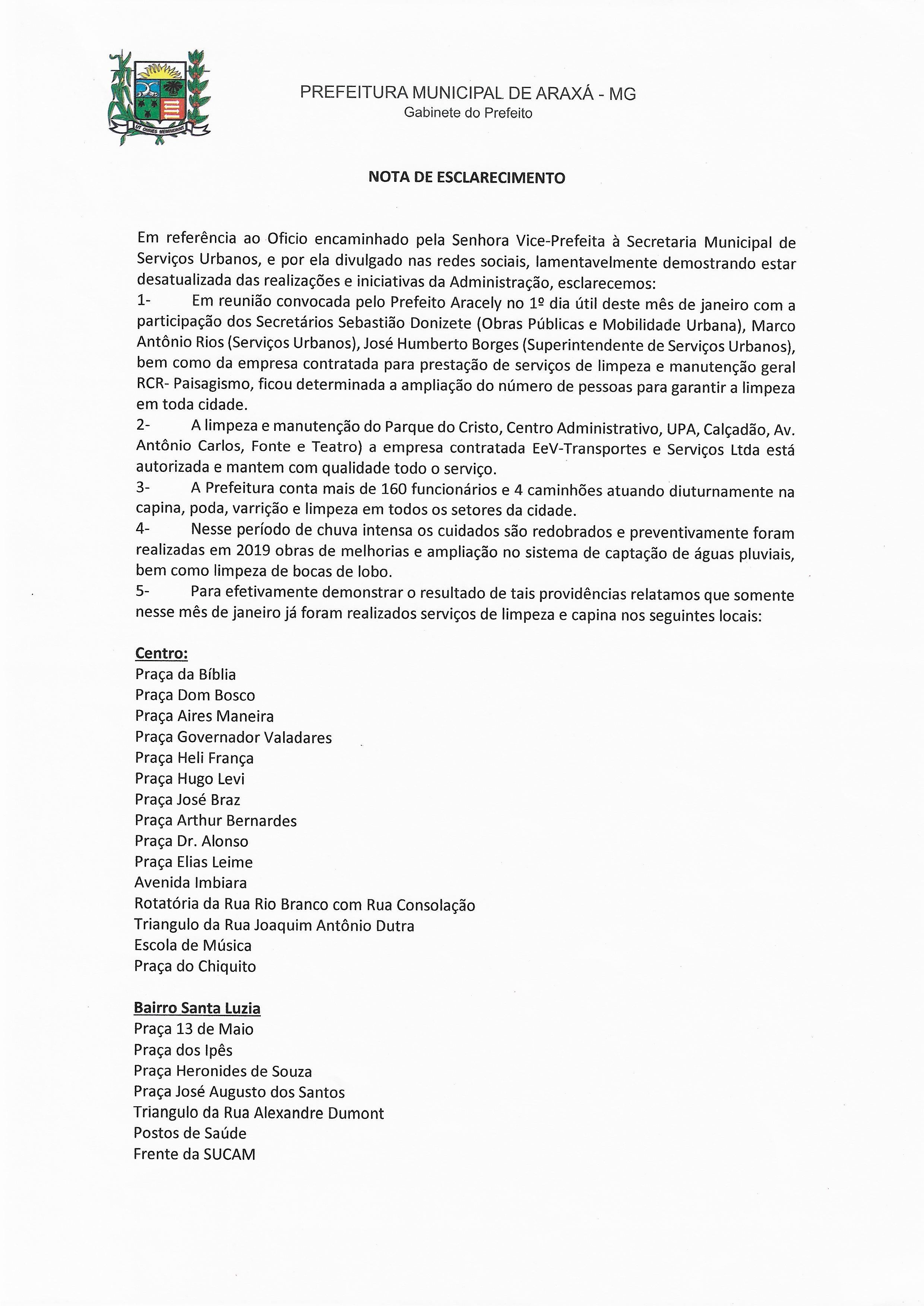 Nota de Esclarecimento PMA em referência ao Ofício encaminhado pela Senhora Vice-Prefeita à Secretaria de Serviços Urbanos