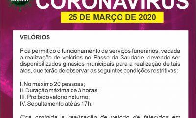 Comitê COVID-19/Araxá disciplina a realização de velórios