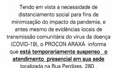 Procon informa que está temporariamente suspenso o atendimento presencial