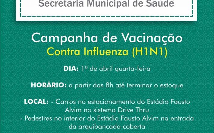 Campanha de Vacinação Contra Influenza (H1N1) será retomada nesta quarta-feira