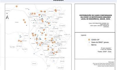Prefeitura divulga mapeamento dos casos de COVID-19 nos bairros de Araxá