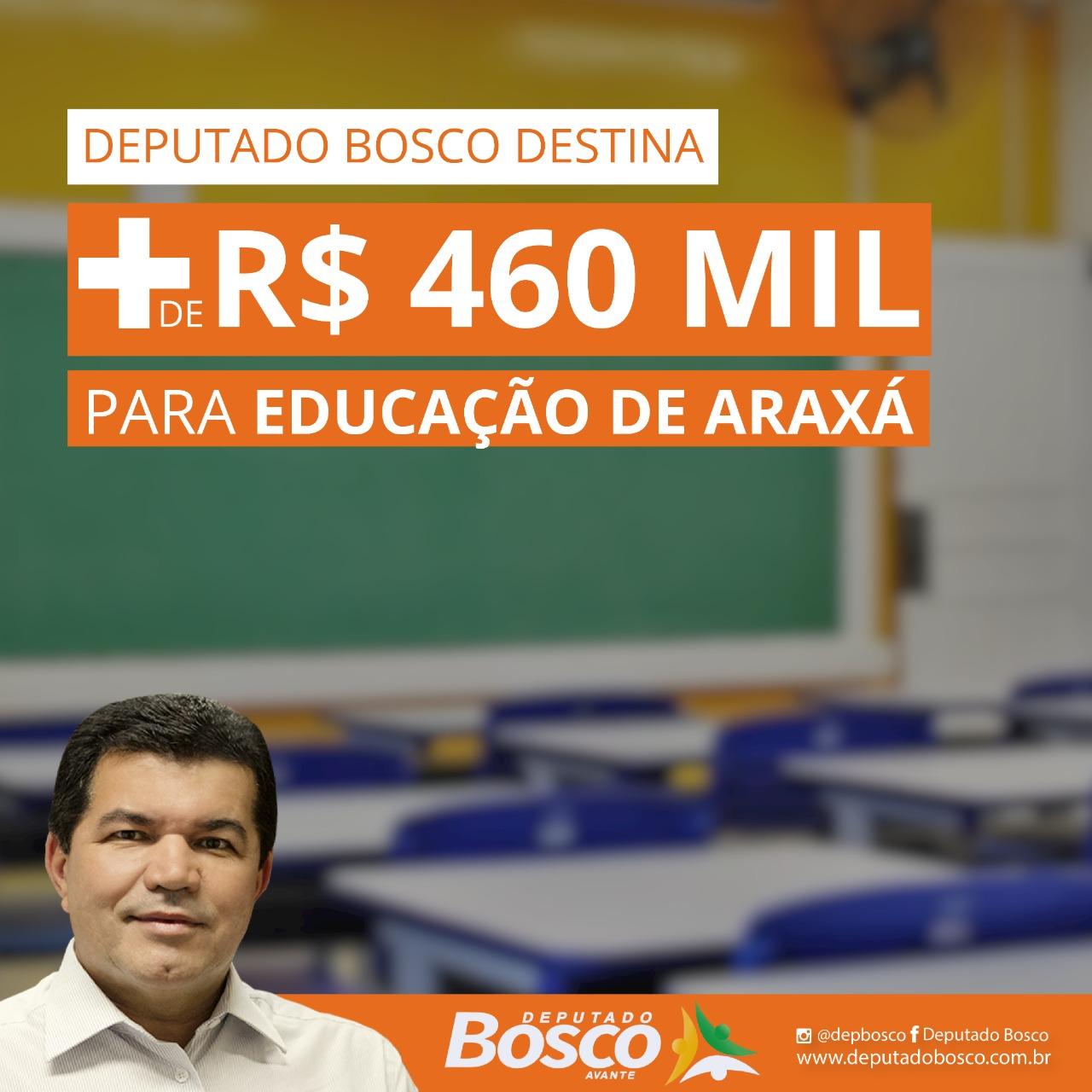 Deputado Bosco destina mais de R$ 460 mil para as escolas de Araxá