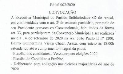 Comissão Provisória Municipal do Partido Solidariedade de Araxá MG
