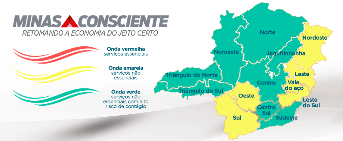 Metade do estado está na onda verde do plano Minas Consciente