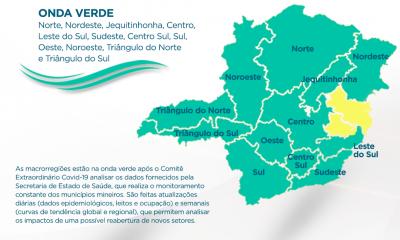 Mais duas macrorregiões de Saúde avançam para a onda verde do Minas Consciente