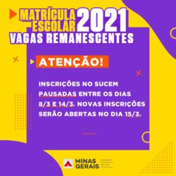 Inscrições para vagas remanescentes no Sucem serão interrompidas entre 8 e 14/3