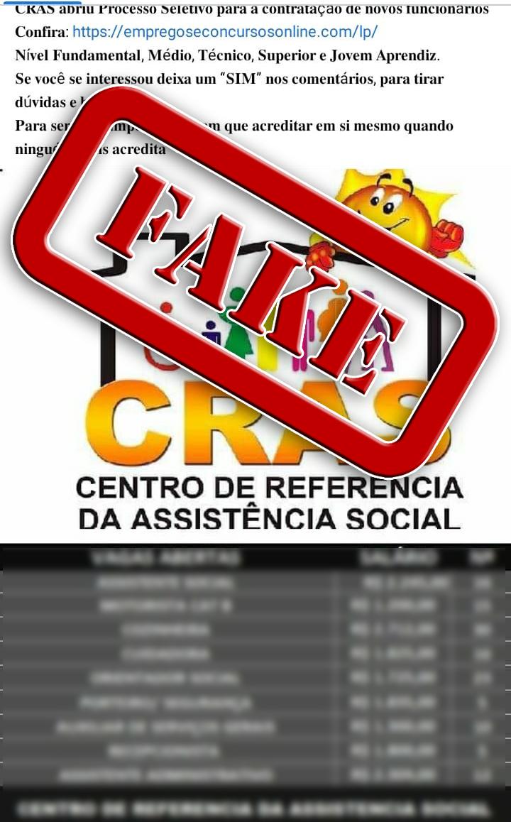 ALERTA FAKE NEWS: Processo seletivo para contratação de funcionários do Cras