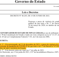 Governo de Minas quer prorrogar vigência do estado de calamidade pública pela pandemia da covid-19 até dezembro